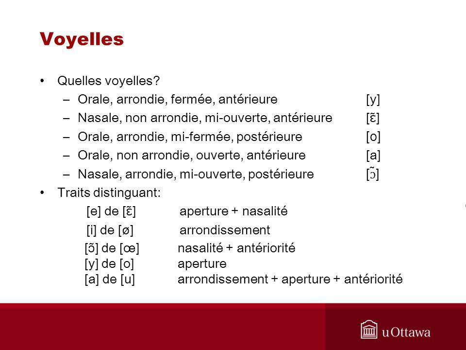 Voyelles Quelles voyelles Orale, arrondie, fermée, antérieure [y]